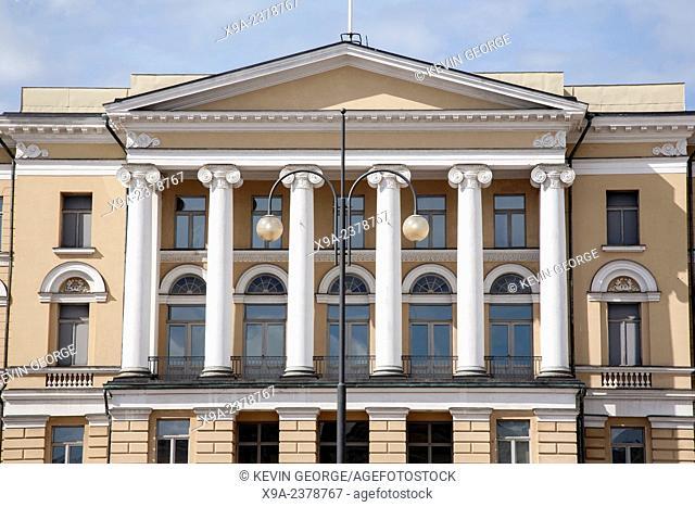 Building Facade on Senate Square, Helsinki, Finland