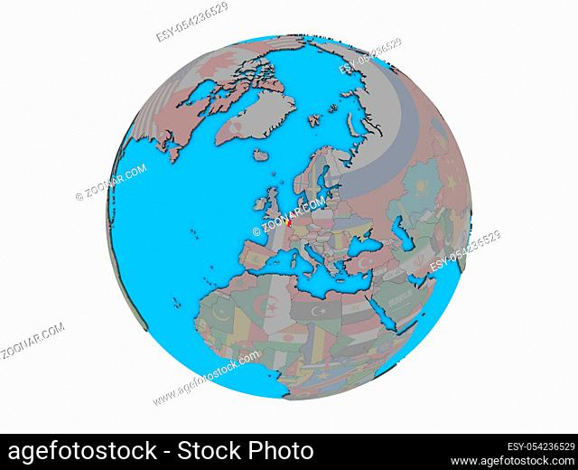 Benelux Union with embedded national flags on blue political 3D globe. 3D illustration isolated on white background
