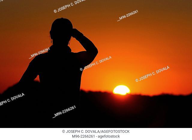 Watching sun set, Matopos, Zimbabwe, Africa