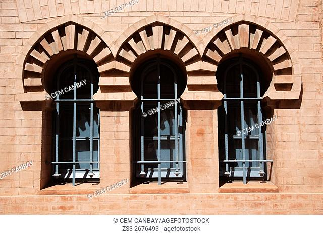 Window detail of the building of the Gran Teatro Falla-Great Theatre Falla at Fragela square, Cadiz City, Andalusia, Spain, Europe