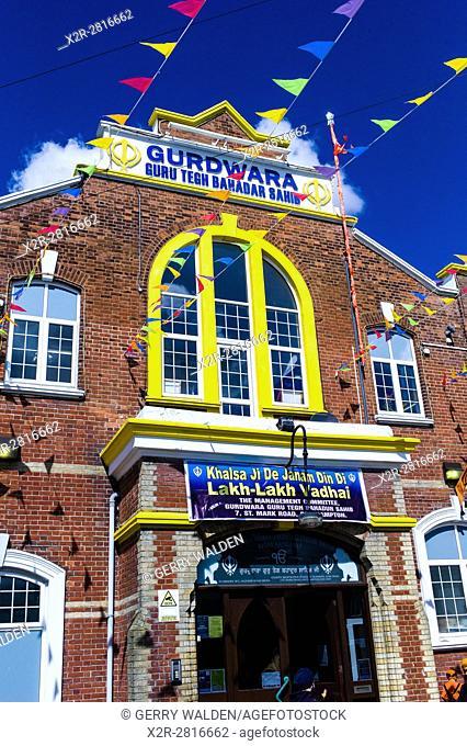 the Sikh Gurdwara Guru Tegh Bahadar Sahib in the centre of Southampton is decorated to celebrate Vaisakhi, a major celebration in the Sikh calendar