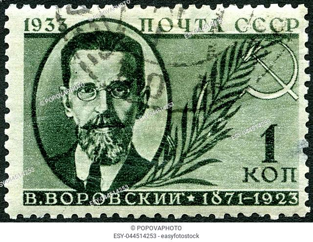 USSR - CIRCA 1933: A stamp printed in USSR shows Vatslav Vatslavovich Vorovsky (1871-1923), Russian revolutionary and marxist, circa 1933