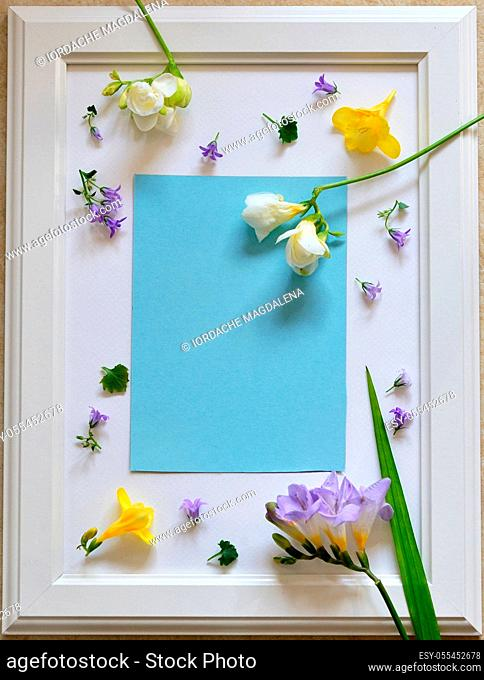copy space, frame, flowers, creativity