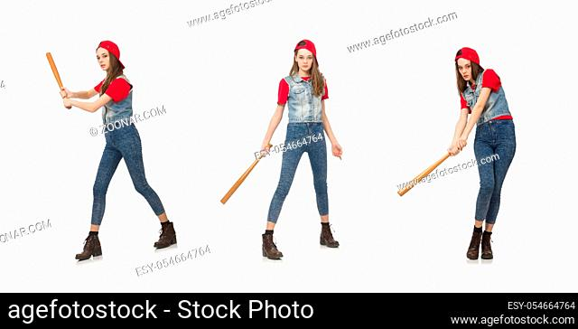 The pretty girl holding baseball bat isolated on white