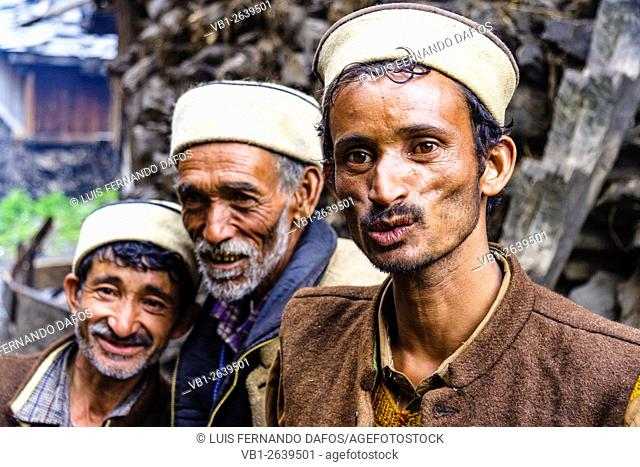 3 Male villagers of Malana village, Himachal Pradesh, India