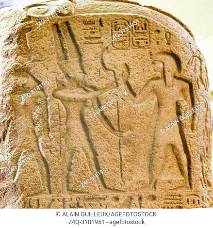 Egypt, Cairo, Egyptian Museum, stele of Merenptah commemorating his campaign against the Libyan, year 5 of his reign. Granite, from Kom el Ahmar