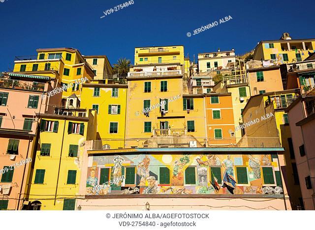 Riomaggiore, Riviera de Levanto, fishing village, Cinque Terre. Genoa. Mediterranean Sea. Liguria, Italy Europe