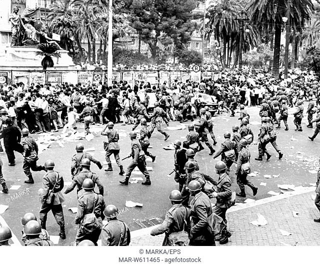 stone-throwing clashes between students of opposing factions in front of the courthouse, Rome, 1966