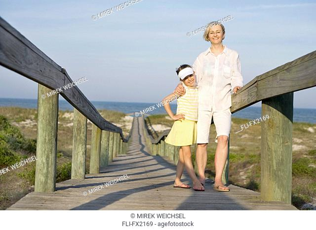 Mother and Daughter on Boardwalk