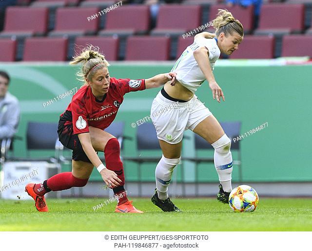 duels, duel between Sharon Beck (SC Freiburg) and Alexandra Popp (VfL Wolfsburg). GES / Football / Women's DFB Cup Final: VfL Wolfsburg - SC Freiburg, 01