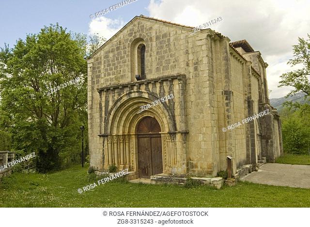 Facade of Santa Maria de Siones Church, XII Century, in Romanesque style with gothic elements, Valley of Mena, Las Merindades, province of Burgos