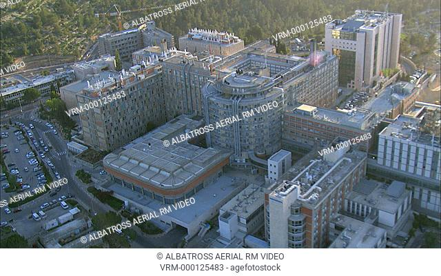 Aerial Footage of Hadassa Ein Kerem's Hospital; Jerusalem; Israel. 360 degrees; three hundred and sixty degree view