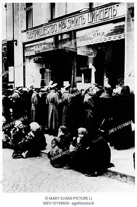 Queuing outside a textile shop, Petrograd