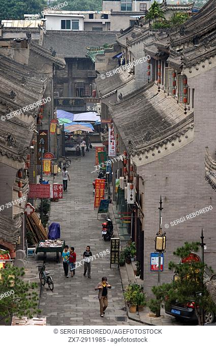 Buildings around Beilin District is one of nine districts of Xian, Shaanxi, China. Area next to the wall of Xian where sell souvenirs and art