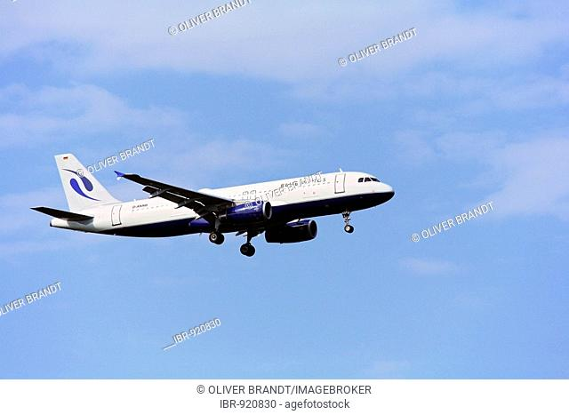 Passenger plane Airbus A 319, Bluewings Airlines, coming in to land