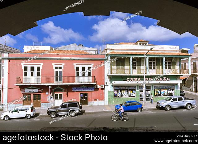 Rua Libertadores de Africa and its Colored Houses from the Arches of the Municipal Market, Mindelo, Sao Vicente, Cape Verde Islands, Africa