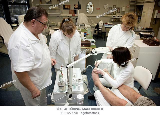 Training course for recognized chiropodists in the Chamber of Small Industries and Skilled Trades, Duesseldorf, North Rhine-Westphalia, Germany, Europe