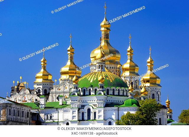 Golden cupola of the Mother of God Assumption church Kiev pechersk lavra, Cave monastery in Kiev, Ukraine