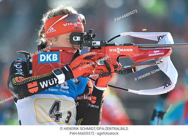 German Maren Hammerschmidt at the shooting range before the women 4x6 km Relay competition at the Biathlon World Championships, in the Holmenkollen Ski Arena