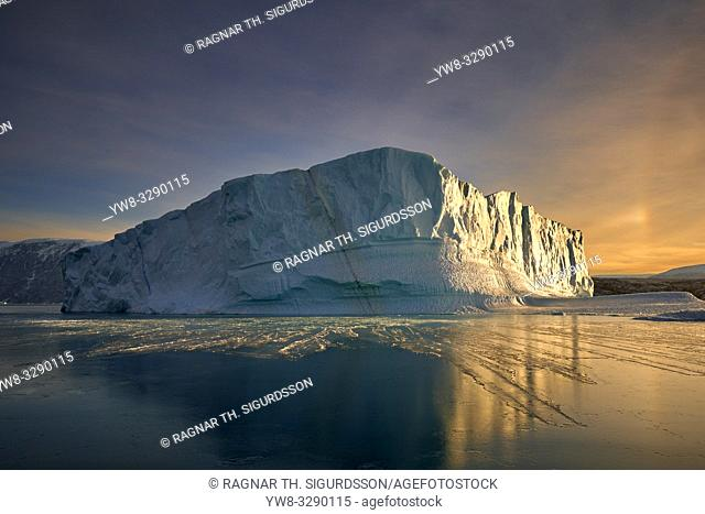 Icebergs at sunset, Scoresbysund, Greenland