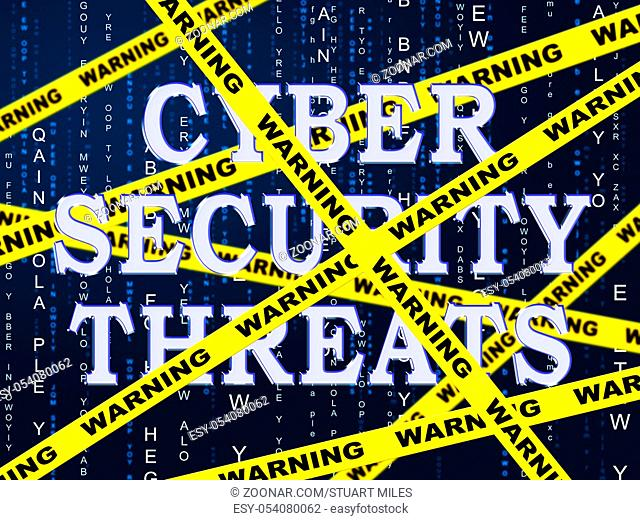 Cybersecurity Threats Cyber Crime Risk 2d Illustration Shows Criminal Data Breach Vulnerability And System Warning