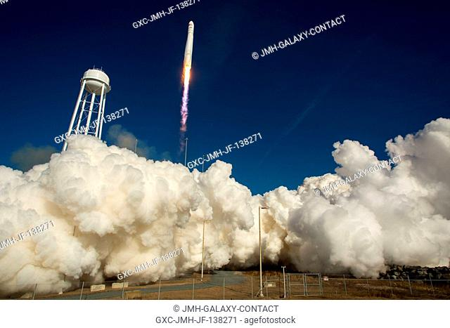 An Orbital Sciences Corporation Antares rocket is seen as it launches from Pad-0A at NASA's Wallops Flight Facility (Virginia) on Jan. 9, 2014