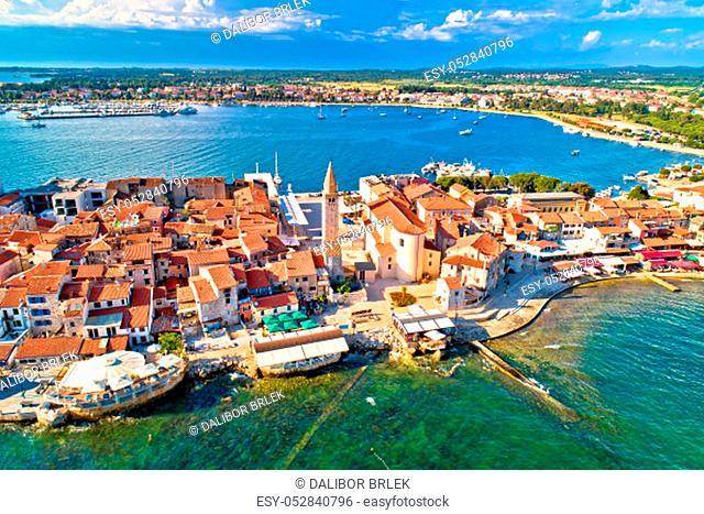 Town of Umag historic coastline architecture aerial view, archipelago of Istria region, Croatia