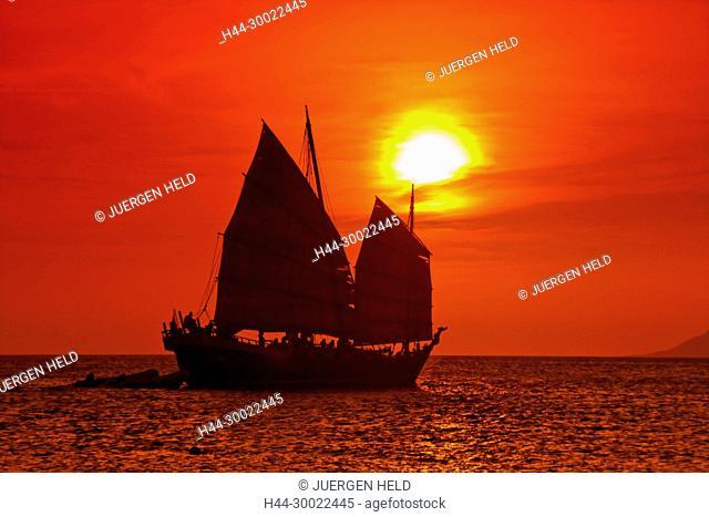 West Indies, Bonaire, sunset, sailing boat , sunset