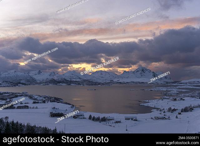 Sunset over a bay on Vestvagoy Island, the second major island in the Lofoten archipelago, Nordland County, Norway