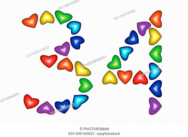Number 34 of colorful hearts on white. Symbol for happy birthday, event, invitation, greeting card, award, ceremony. Holiday anniversary sign