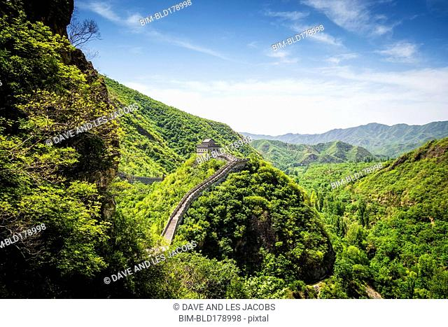 Aerial view of Great Wall of China, Beijing, Hebei Province, China