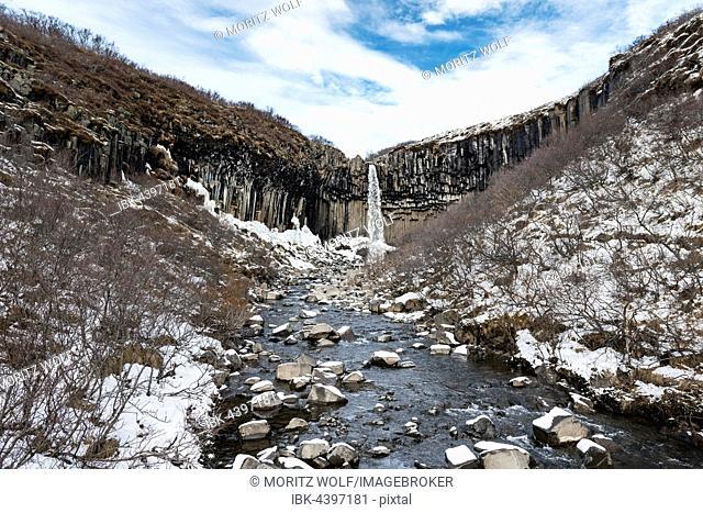 Svartifoss Waterfall, Black Falls, River Stórilækur, basalt columns, Skaftafell National Park, Southern Region, Iceland