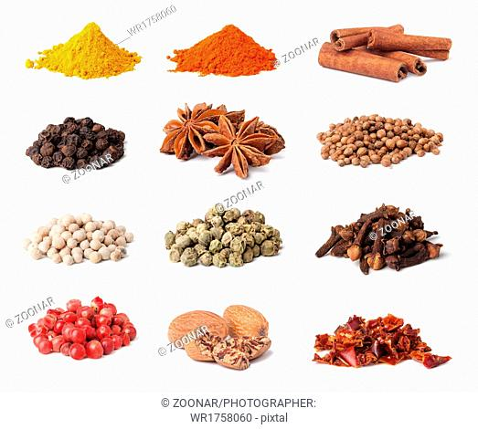 Spice collection isolated on white background