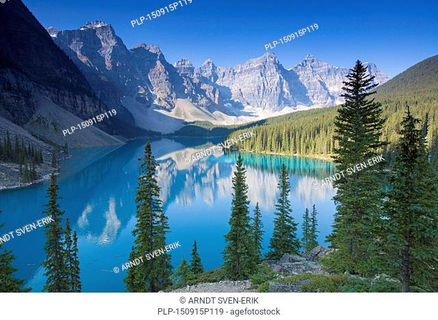 Glacial Moraine Lake in the Valley of the Ten Peaks, Banff National Park, Alberta, Canada