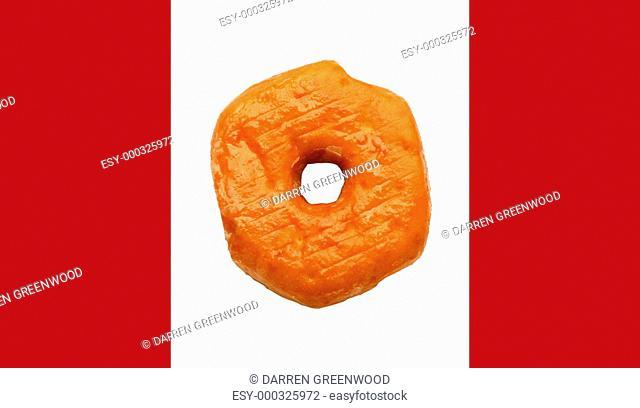 Donut on Canadian flag