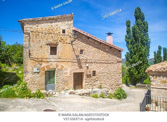 Facade of house. Carabias, Guadalajara province, Castilla La Mancha, Spain