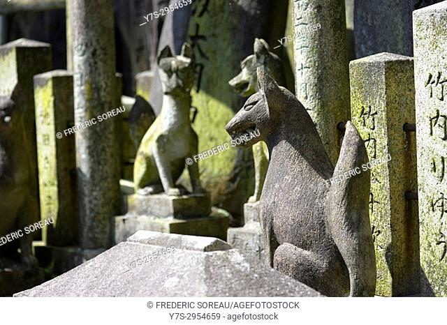 Fox statue at Fushimi Inari Taisha, a large Shinto shrine complex near Kyoto, Japan, Asia