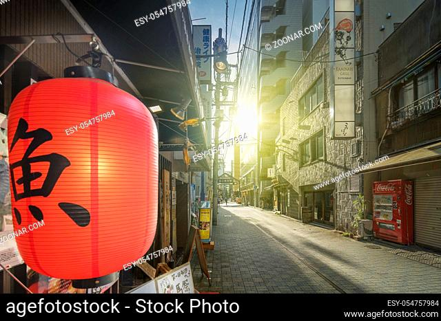 Red rice paper lantern with japanese kanji sakana which mean fish on the front of an restaurant of the shopping street from the west exit of Kanda Station on...