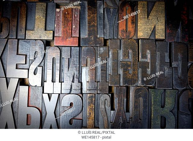 fonts composition of ancient wooden printing
