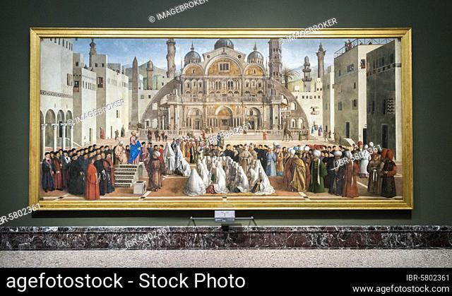 San Marco predica in Alessandia d'Egitto, St. Mark preaching in Alexandria Egypt, paintings by Gentile and Giovanni Bellini, Renaissance, Pinacoteca di Brera
