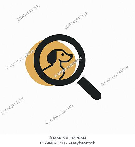 Magnifying glass looking for a dog isolated web icon. Vector illustration