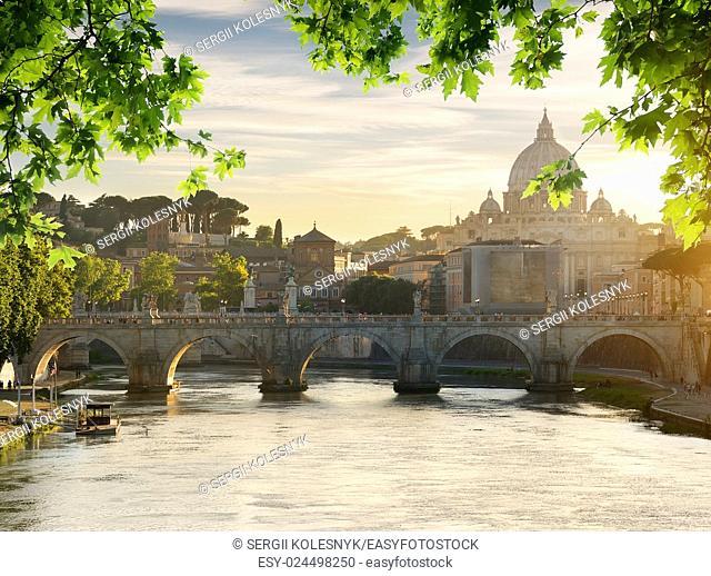 Bridge of Saint Angelo near Vatican at sunset