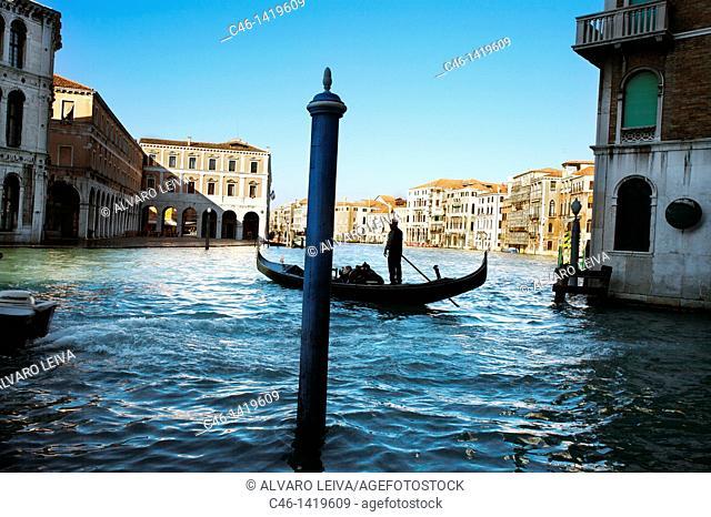 Gondolas on Grand Canal, Venice, Veneto, Italy