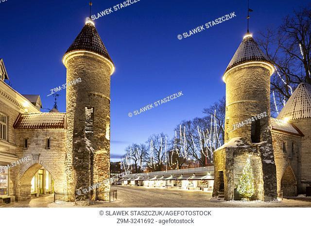 Winter dawn at Tallinn city walls, Estonia