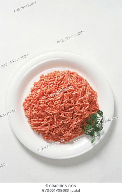 Plate of Uncooked Ground Beef