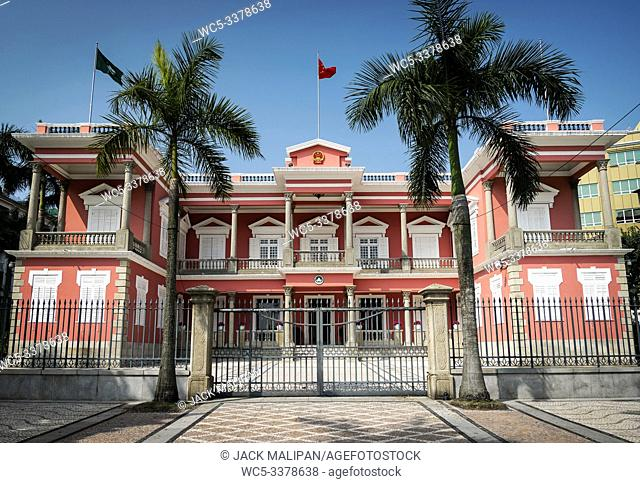 chinese government headquarters colonial heritage building landmark exterior in macau city at daytime