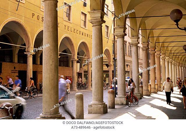 Italy - Emilia Romagna - Modena. Arcades along Via Emilia