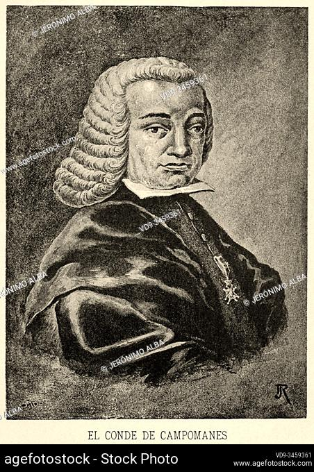 Portrait of Pedro Rodríguez de Campomanes and Pérez, first count of Campomanes (1723-1802). Spanish politician, jurisconsult and economist