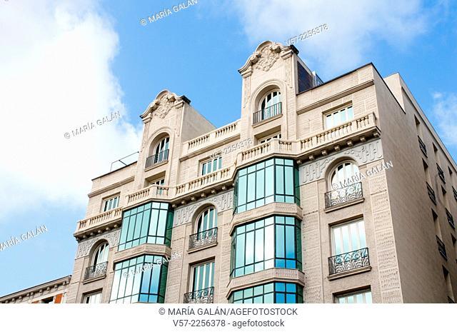 Facade of building. Serrano street, Madrid, Spain