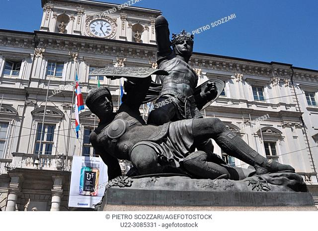 Turin, Italy: monument to Amedeo VI di Savoia, the 'Green Count', winning against the Turks, facing Palazzo Civico (City Hall)